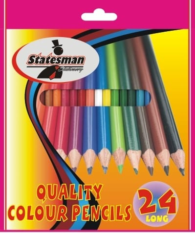 24 Pack of Long Colour Pencil Crayons (Statesman)