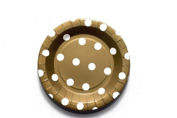 Gold Polka Dot Paper Plate