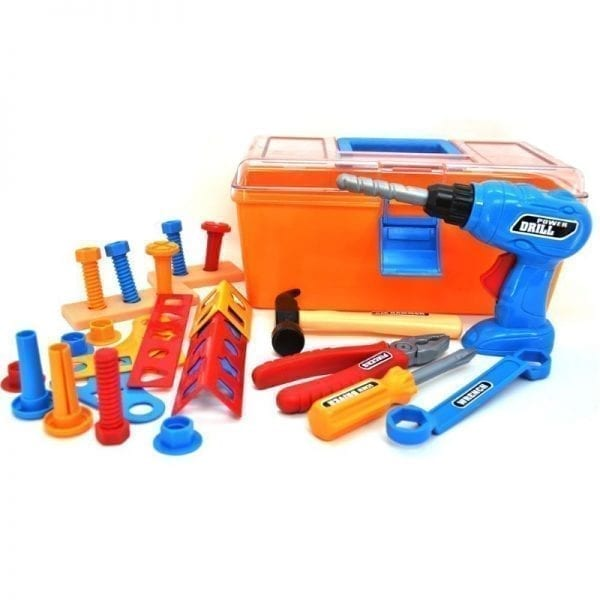 Tool Box with 28 Piece Power Tool Play Set