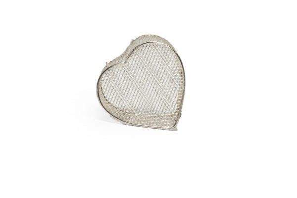 Silver Wire Mesh Heart Box