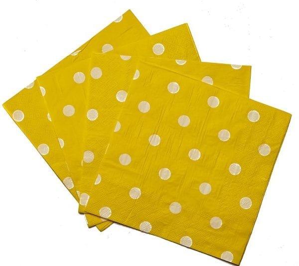 Yellow Polka Dot Serviettes