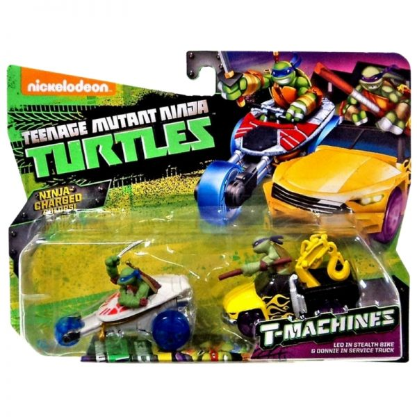 Teenage Mutant Ninja Turtles T-Machines Leo in Stealth Bike and Donnie in Service TruckDiecast Car 2-Pack_Picture 2