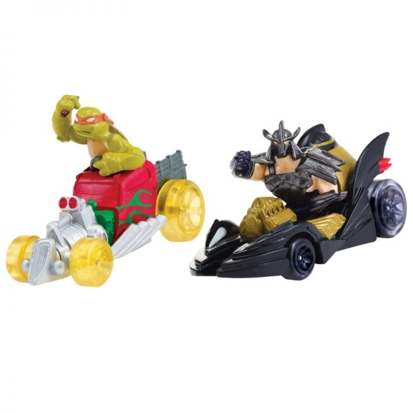Teenage Mutant Ninja Turtles T-Machines Mikey in Hot Rod and Shredder in Shreddermobile Diecast Car 2-Pack_Picture 1