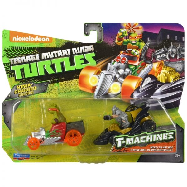 Teenage Mutant Ninja Turtles T-Machines Mikey in Hot Rod and Shredder in Shreddermobile Diecast Car 2-Pack_Picture 2